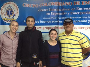 A Tu Lado's Emily Berger and Terence Steinberg with Leaders of the Grupo Colombiano de Emergencias; Bogota, Colombia, March 2013